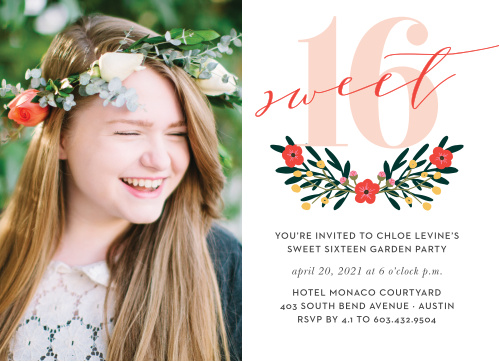 Set the tone for her party with Festive Floral Party Invitations.