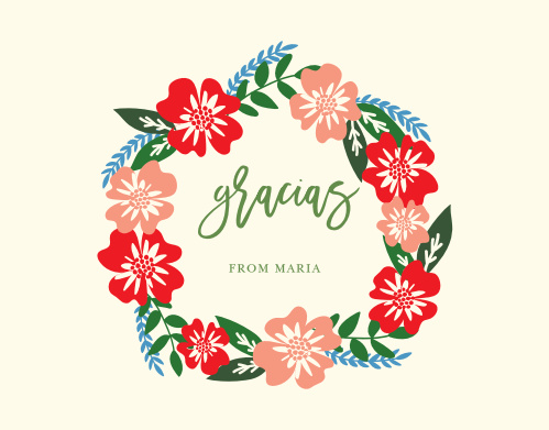 An elegant scrawl is crowned in poppy red and sienna pink flowers with steel blue accents, set against a cream background for our Hardy Hibiscus Thank You Cards.