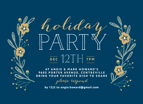 On a classic shade of holiday blue, we've created just the card you need for your upcoming party: Laurels Foil Holiday Party Invitations.
