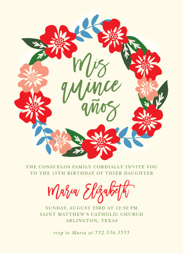 An elegant scrawl is crowned in poppy red and sienna pink flowers with steel blue accents, set against a cream background for our Hardy Hibiscus Quinceañera Party Invitations.
