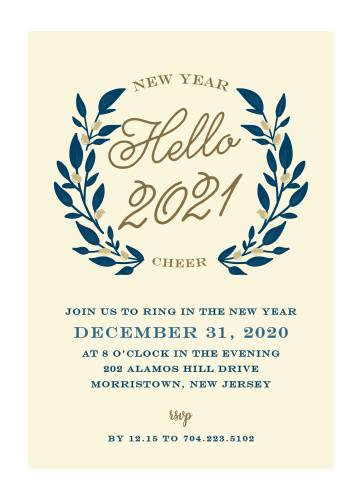 floral monogram new year party invitations