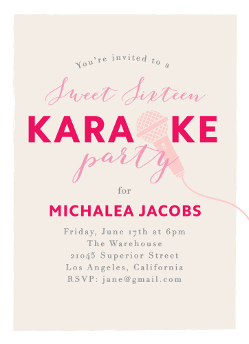 A trio of pinks- cotton candy, pomegranate, and french-rose -decorates our Cool Karaoke Sweet Sixteen Party Invitations.
