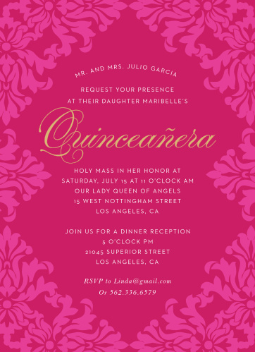 Quinceaera invitations match your color style free basic invite velvet foil quinceaera party invitations stopboris Choice Image