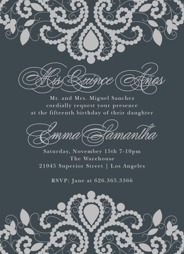 "Delicately designed, with intricate illustrations of ""Luxurious Lace"" in silver foil and an onyx background, these foil party invitations will make for a lovely and lavish party."
