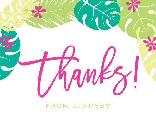 Hula your way into fondness (and frond-ness) with Laule'a Luau Thank You Cards.