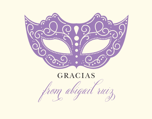 An intricate, soulmate purple mask and decorative calligraphy contrasts with a cream background on our Masquerade Mask Thank You Cards.