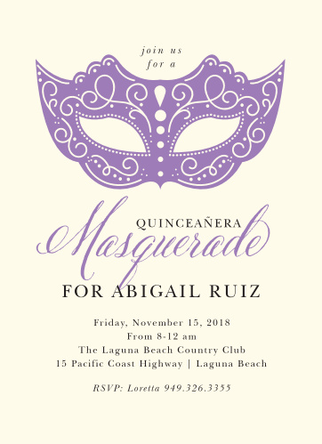 An intricate, soulmate purple mask and decorative calligraphy contrasts with a cream background on our Masquerade Mask Quinceañera Party Invitations.