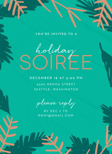 A perfect play of modern and classic, the Minty Leaves Foil Party Invitations are a wonderful way for you to welcome your loved ones to your holiday celebrations this winter.