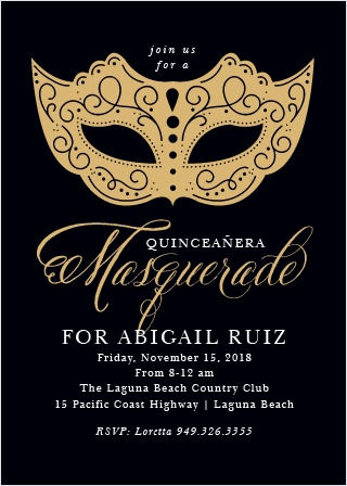 An intricate, gold-foiled mask and decorative calligraphy contrasts with a black background on our Masquerade Mask Foil Party Invitations.