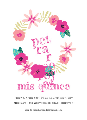 Our Painted Flowers Quinceañera Party Invitations are as feminine as they are floral.