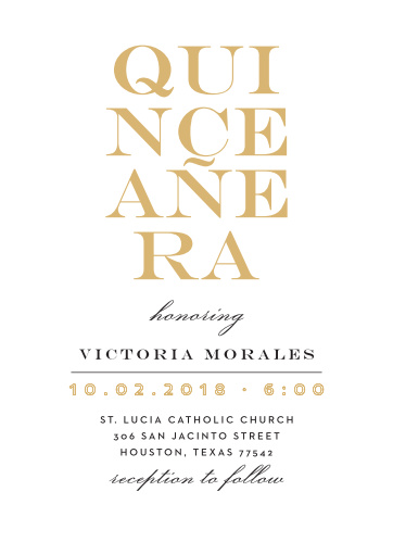 The Type Stack Foil Quinceañera Party Invitations are simple and bold.