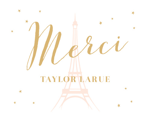 The soft outline of the Eiffel Tower sets a beautiful tone for these Paris Passion Foil Thank You Cards.