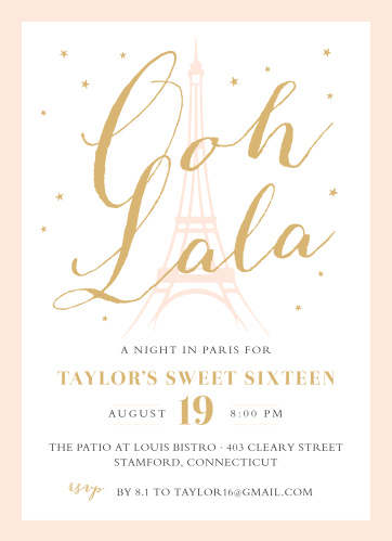 """With the light outline of the Eiffel Tower in the background of our Paris Passion Foil Sweet Sixteen Party Invitations and the phrase """" Ooh Lala"""" in a gold, foiled script titling the page, these cards are a perfect picture of the classic elegance that your guests will experience at your party."""