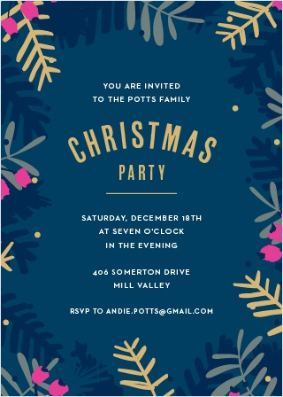Featuring cheerful, timeless typefaces, a gorgeous deep blue background, and adorned with various evergreen branches and berries, our Blue Branches Foil Christmas Party Invitations are a fantastically festive way to ensure that your loved ones join you at your party.