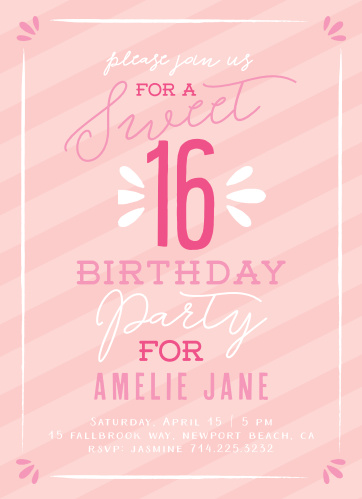 Sweetly striped and featuring a collection of contrasting pinks, as well as the subtle addition of some white text for the sake of variety, our Sugar Sweet Party Invitations are a throwback to the sweet girl that you can still see.