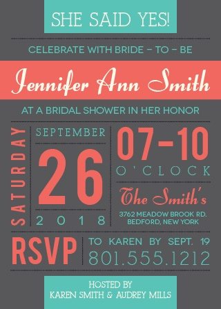 The Subway Art Bridal invitation has an array of colors and fonts. It is modern, creative and exciting. Fully customizable!
