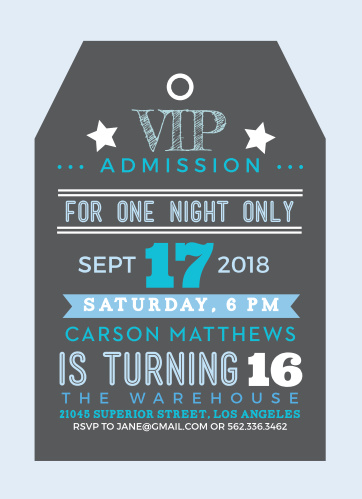 "Using a variety of different fonts and shades of blue, this card has been illustrated excellently to look and feel like an elite and authentic ""VIP Tag""."