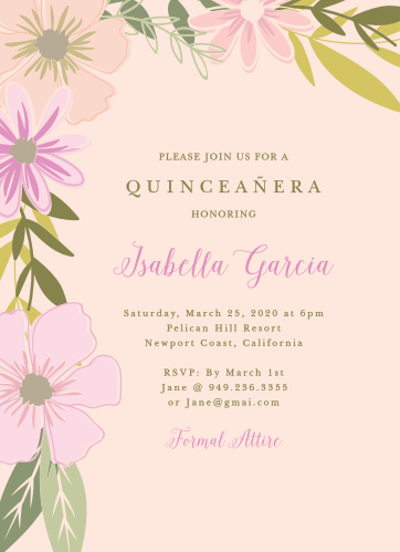 pretty posies quinceaera party invitations