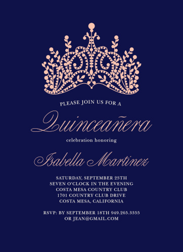 princess quince quinceaera party invitations