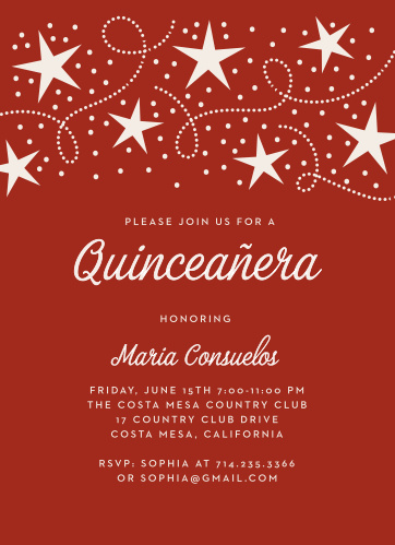 Our sangria-red Star Spangled Quinceañera Party Invitations combine classic elegance with a modern mastery of design.