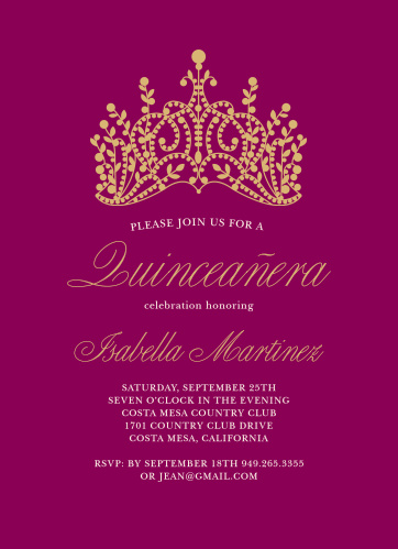 Quinceaera invitations match your color style free basic invite princess quince foil quinceaera party invitations stopboris Gallery
