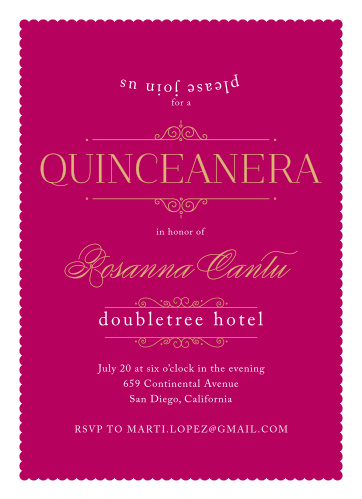 Regal and refined, the Forever Royalty Foil Quinceañera Party Invitations are the ideal cards to represent your daughter for her quinceañera.