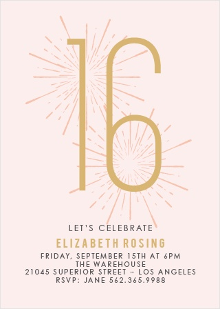 Sweet 16 invitations match your color style free basic invite sweet sparkler foil sweet sixteen party invitations solutioingenieria Image collections
