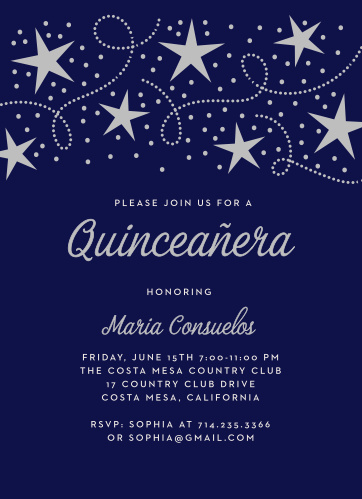 Our dusk-purple Star Spangled Foil Quinceañera Party Invitations combine classic elegance with a modern mastery of design.