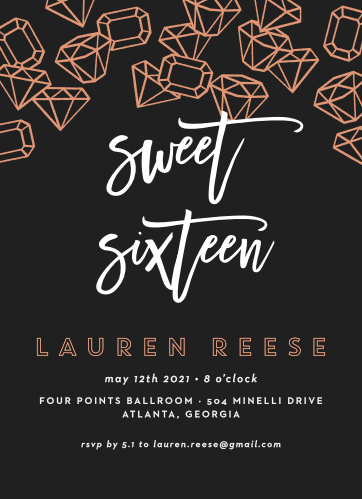 Birthday invitations birthday party invites basic invite scattered jewels foil sweet sixteen party invitations solutioingenieria