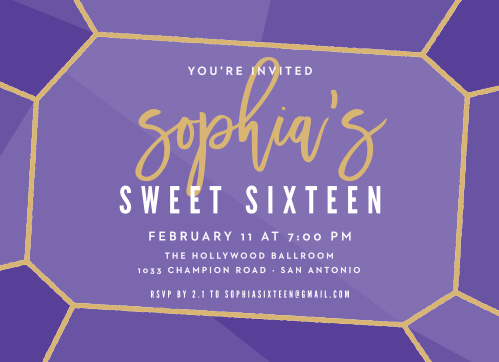 Sweet 16 invitations match your color style free basic invite glittery gemstone foil sweet sixteen party invitations solutioingenieria Image collections