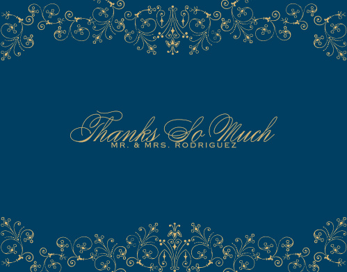 Use the beautiful elegance of our Floral Filigree Foil Thank You Cards to express your gratitude toward your guests.