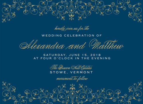 Our gold foil and indigo blue Floral Filigree Foil Wedding Invitations are the picture of classical elegance.