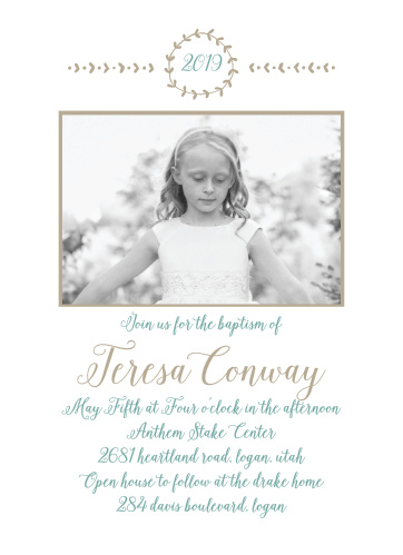 The current year is encircled by leafy vines on our Back To Nature Photo LDS Baptism Invitations.