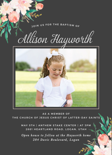Blossoming Love LDS Baptism Invitations