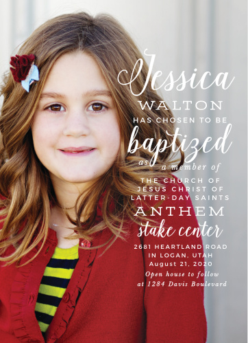 Nothing makes a more beautiful background than a photo of your child, and with that idea in mind we've created Simplicity Portrait LDS Baptism Invitations.