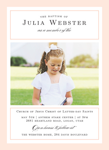 A pure white background surrounded by a thick, light coral pink border sets the tone for our traditional looking Moving On Girl LDS Baptism Invitations.