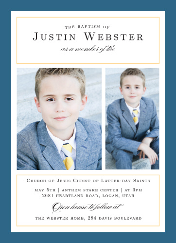 Moving On Boy LDS Baptism Invitations