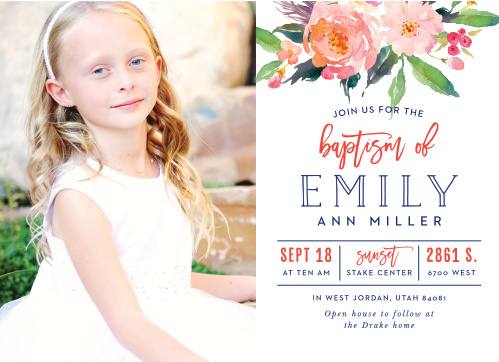 A lovely photo of your eight-year old covers the left half of our landscape-oriented Bold Bouquet LDS Baptism Invitations to make their purpose unmistakable.