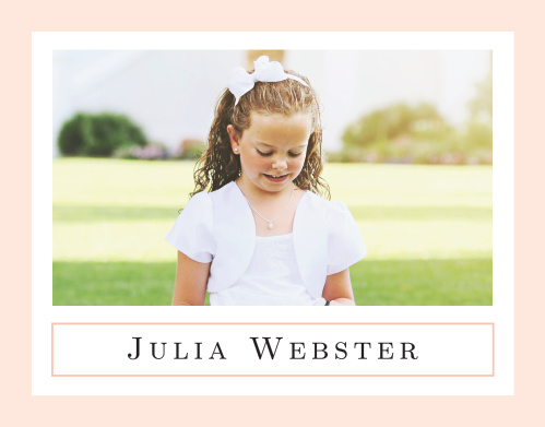 A pure white background surrounded by a thick, light coral pink border sets the tone for our traditional looking Moving On Girl LDS Baptism Thank You Cards.