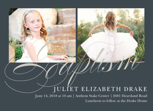 Subtle Script LDS Baptism Invitations are exquisitely designed, with their onyx gray backdrop and large, smoky gray swirled script.