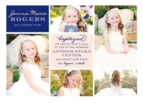 We've stacked a selection of photos, all carefully chosen by you, to create a stable foundation for our Photo Blocks LDS Baptism Invitations.