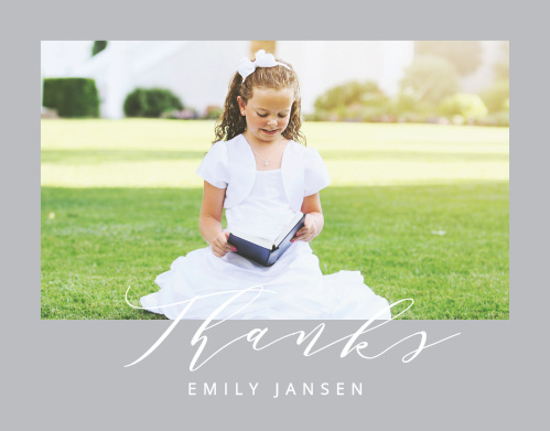 A photo of your lovely little one graces the front cover of our Calligraphy LDS Baptism Thank You Cards, while the gentle curve of the script below spells out your gratitude.