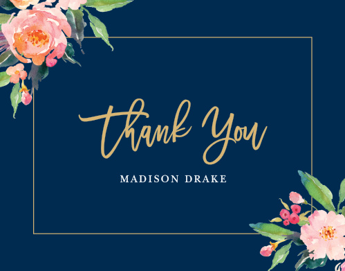 Blossoming watercolor florals, a skinny frame, and your wording make the Standing Ovation LDS Baptism Thank You Cards a beautiful way to show your gratitude.
