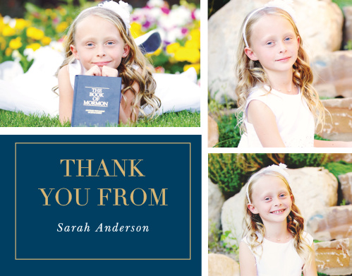 """These Foil LDS Baptism Thank You Cards are Traditional to a T, with both design and coloring that stays true to """"The Book""""."""