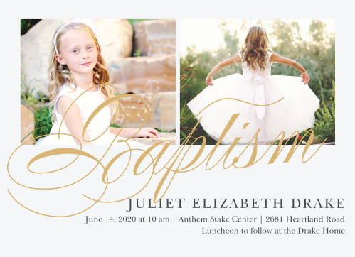 Script Foil LDS Baptism Invitations are exquisitely designed, with their pure white backdrop and large, gold-foiled, swirled script.