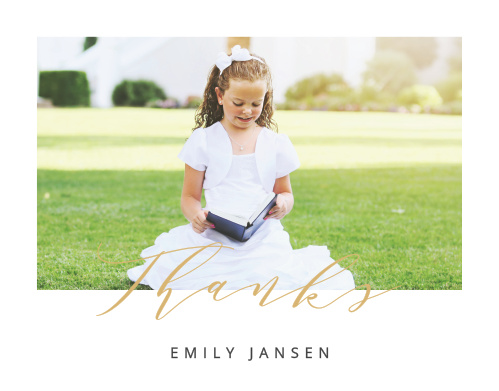 A photo of your lovely little one graces the front cover of our Calligraphy Foil LDS Baptism Thank You Cards, while the gentle curve of the script below spells out your gratitude.