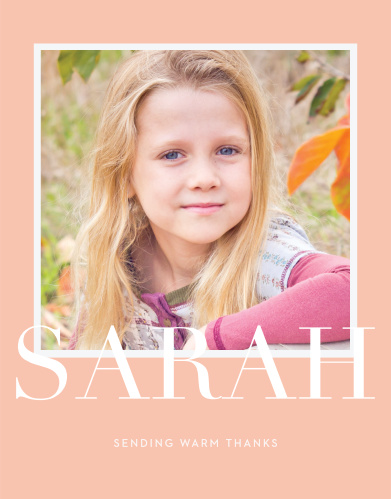 A large, cheerful photo of your child decorates the front of our Formal Type LDS Baptism Thank You Cards.