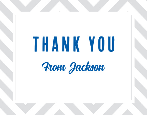 Bold blue text bearing your gratitude takes front and center on our Chic Chevron LDS Baptism Thank You Cards.