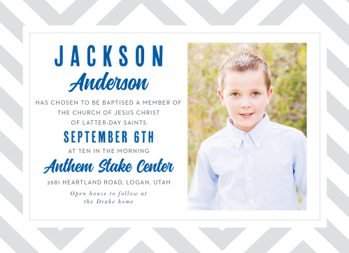 With a deep blue and light gray color scheme, our Chic Chevron LDS Baptism Invitations give new life to a classic design.
