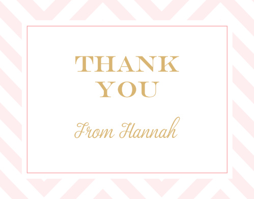 Bold gold text bearing your gratitude takes front and center on our Chic Chevron Foil LDS Baptism Thank You Cards.
